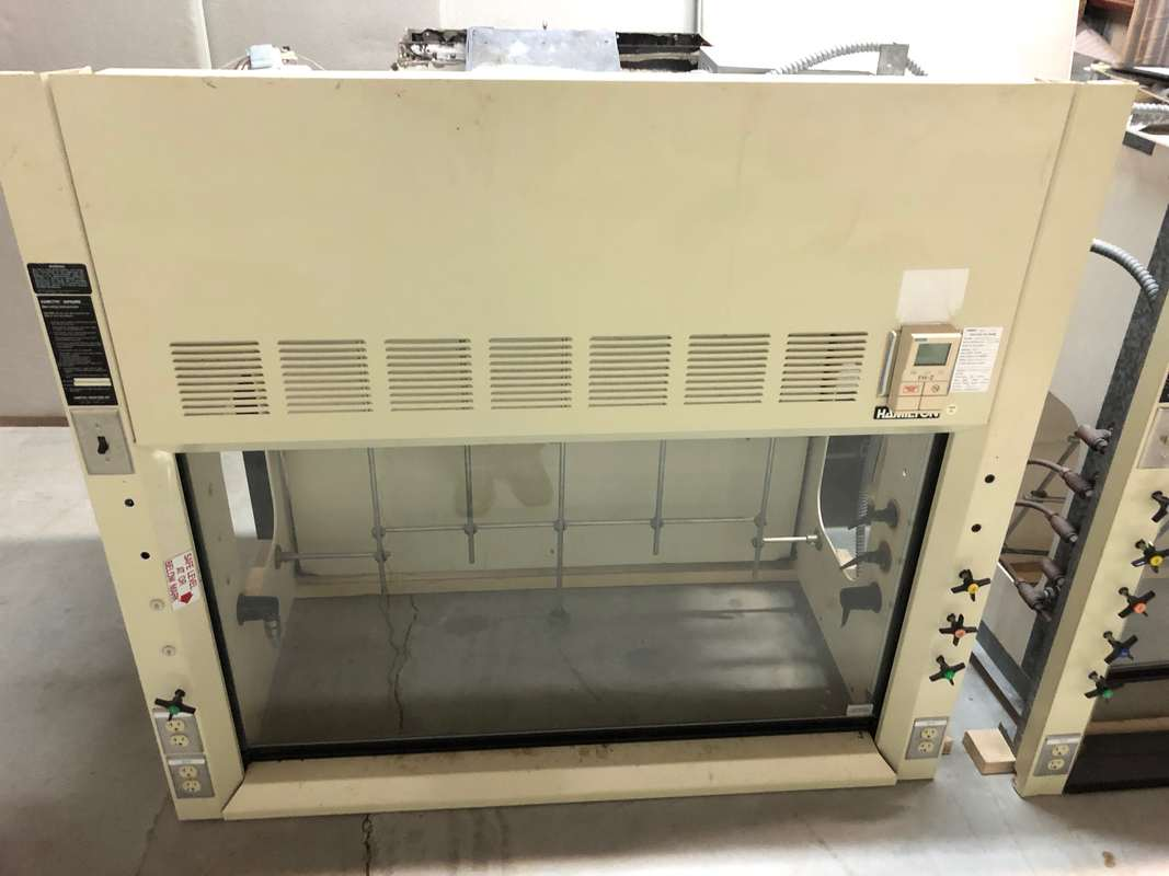 Used fume hoods cabinets counter tops recycled  equipment